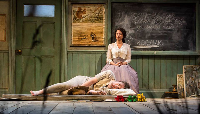James McArdle as Mikhail Vasilievich Platonov and Nina Sosanya as Anna Petrovna. Photo by Johan Persson