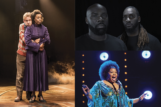 [LEFT] Harry Potter and the Cursed Child, photo credit Manuel Harlan [TOP RIGHT] Michael Mikey J Asante and Kenrick H2O Sandy image credit Carl Fox [BOTTOM RIGHT] Amber Riley in Dreamgirls at the Savoy Theatre. Credit Brinkhoff-Mögenburg