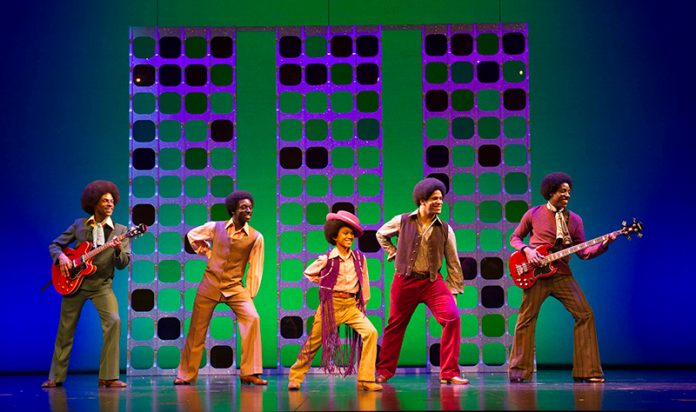 l-r Brandon Lee Sears, Samuel Edwards, Eshan Gopal, Simon Ray Harvey, Simeon Montague as The Jackson 5 in Motown the Musical at the Shaft
