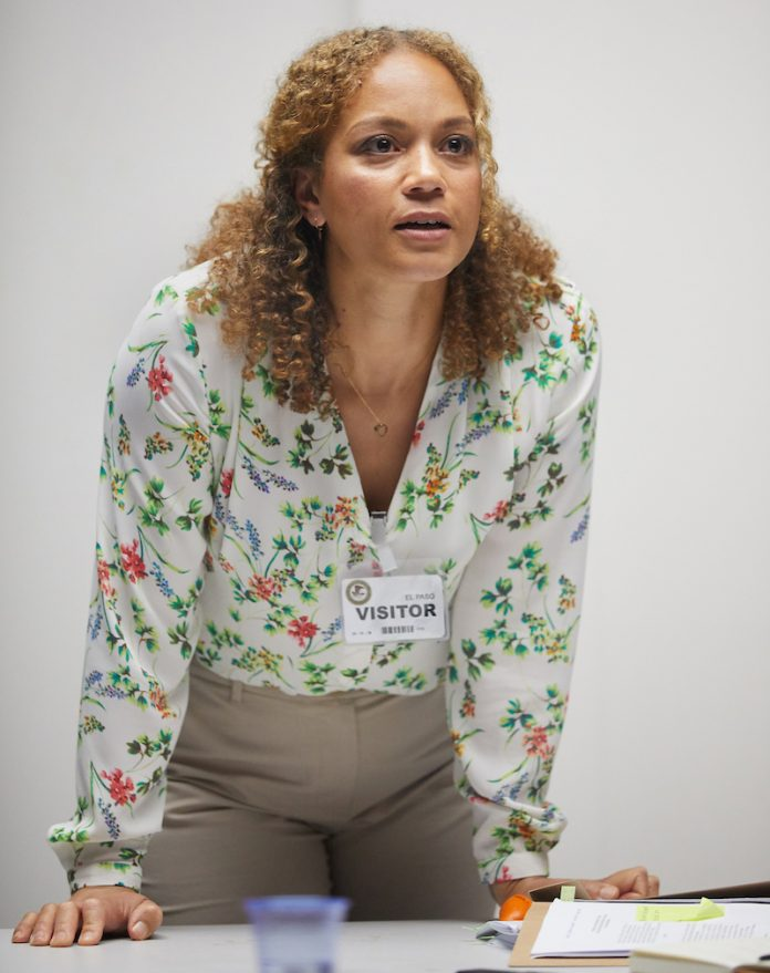 Angela Griffin in Building The Wall at the Park Theatre. Photo by Mark Douet
