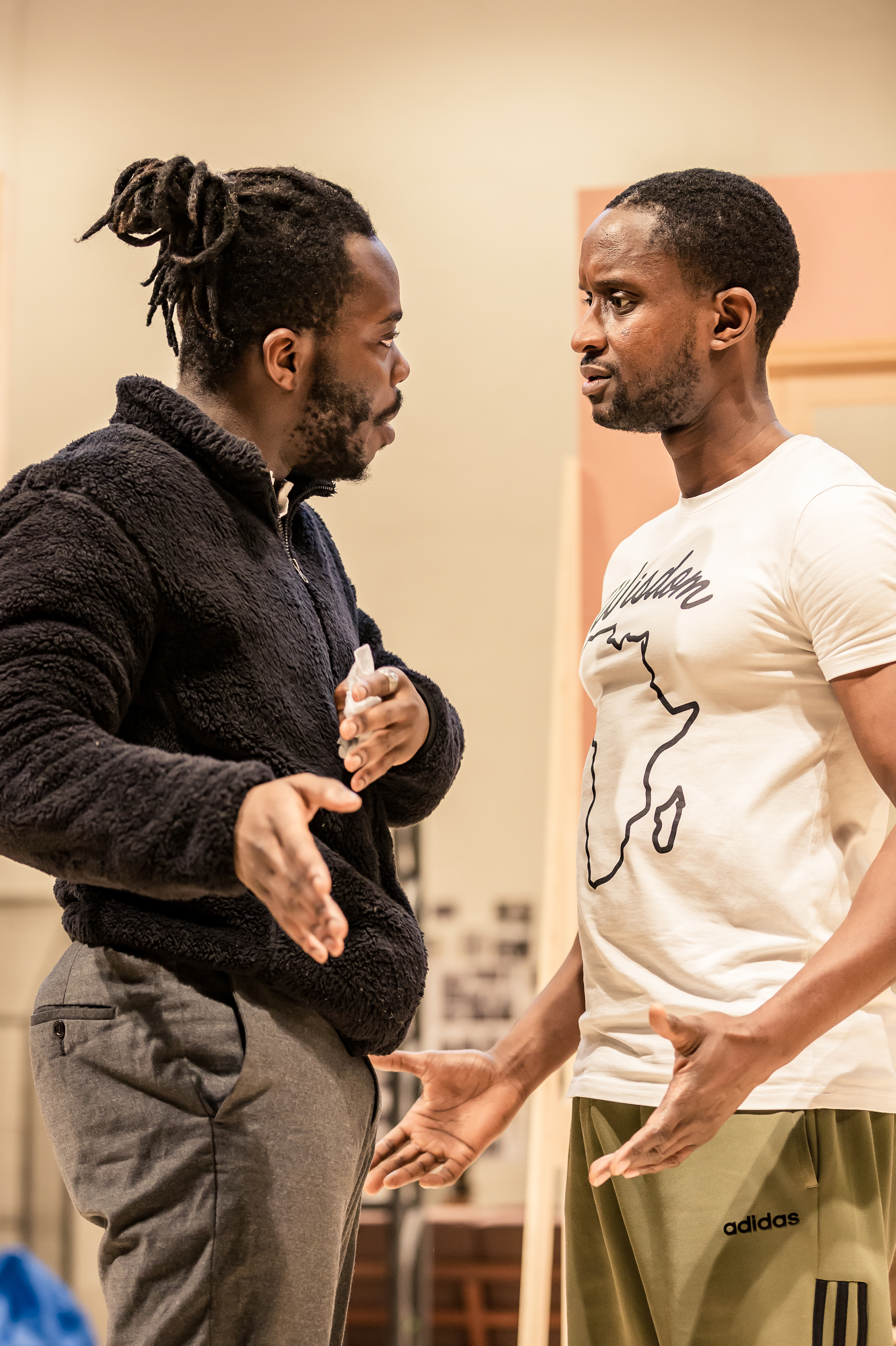 Jonathan Ajayi (Igwe) and Peter Bankole (Nmeri Ora) in Three Sisters. Photo by The Other Richard.