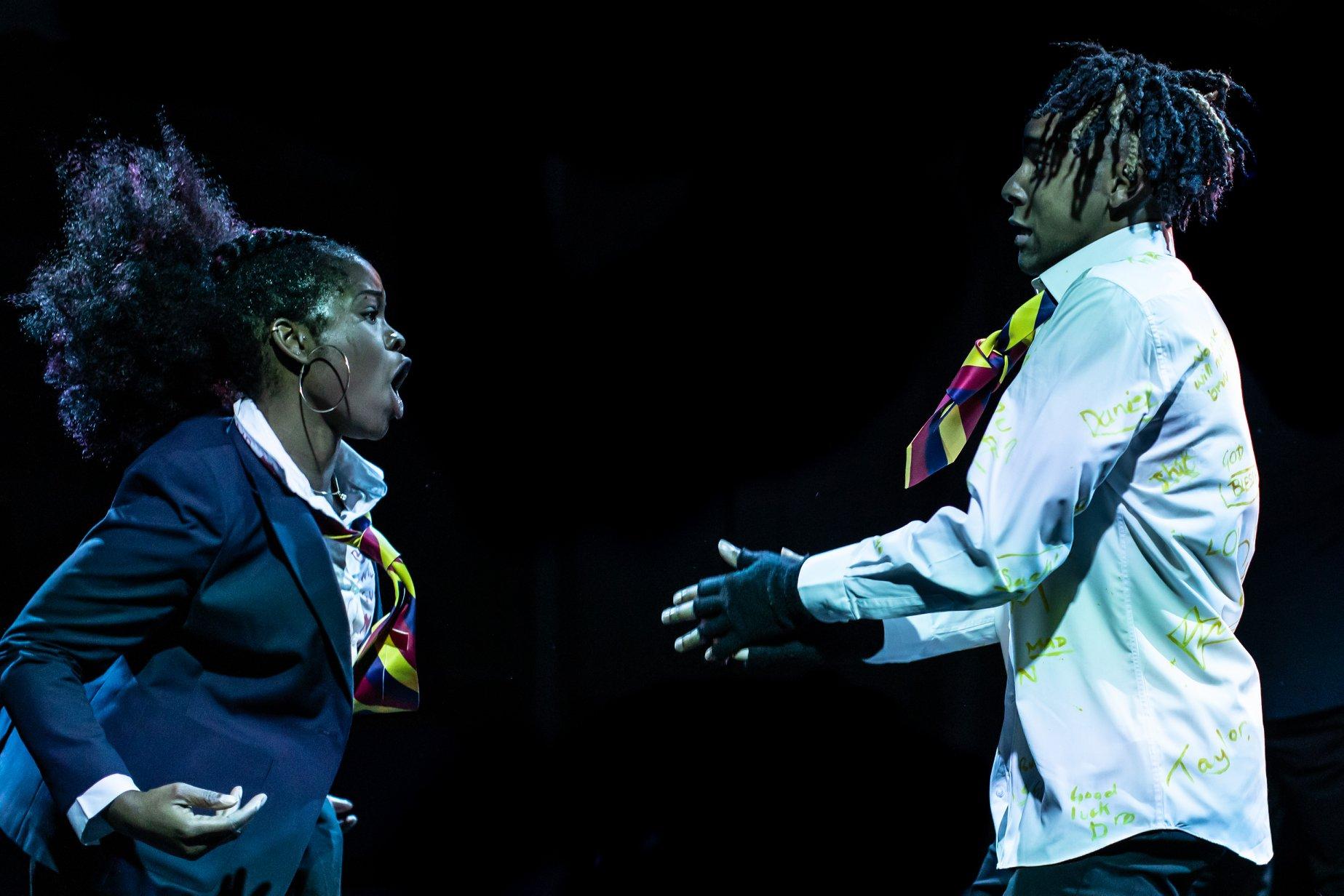 Rachel Nwokoro and Khai Shaw in LITTLE BABY JESUS by Arinzé Kene, directed by Tristan Fynn-Aiduenu, winner of the 2019 JMK Award (c) by Ali Wright