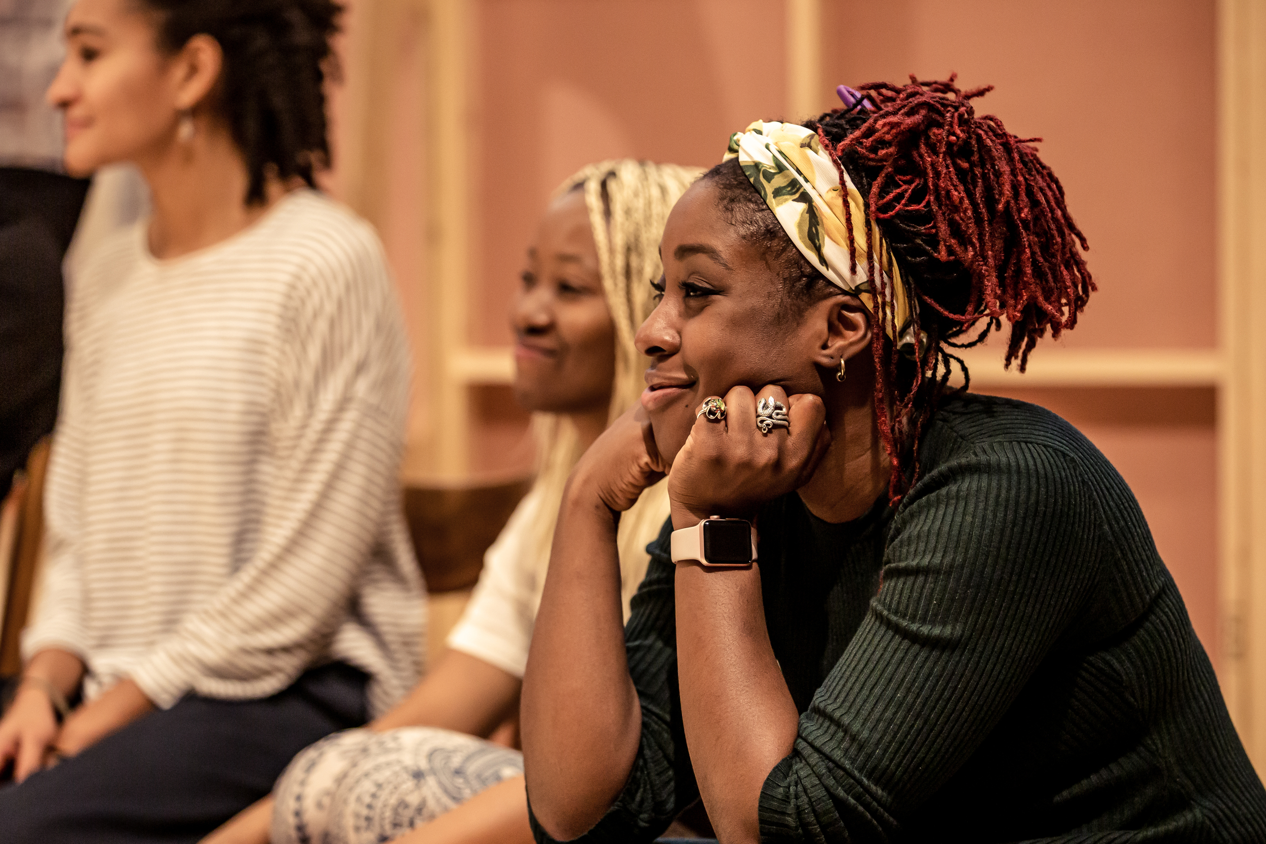 Ronke Adekoluejo (Abosede) in rehearsals for Three Sisters. Photo by The Other Richard.
