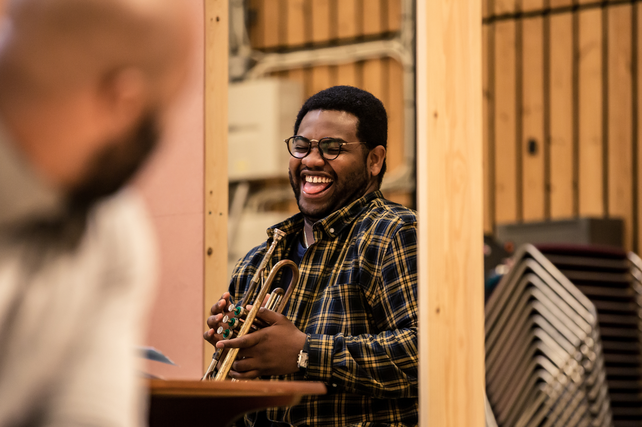 Tobi Bamtefa (Dimgba) in rehearsals for Three Sisters. Photo by The Other Richard.