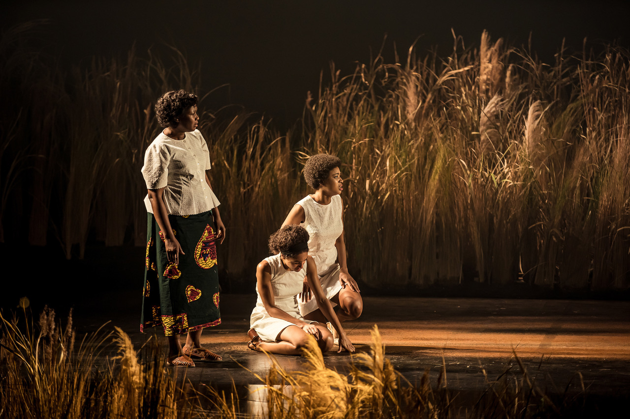 Sarah Niles (Lolo), Racheal Ofori (Udo) and Natalie Simpson (Nne Chukwu) in Three Sisters. Photographer - The Other Richard