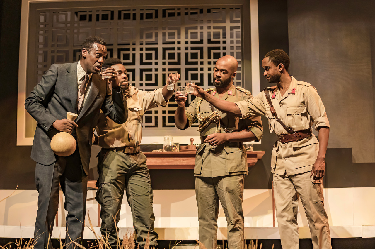 Sule Rimi (Onyinyechukwu), Jonathan Ajayi (Igwe), Ken Nwosu (Ikemba), Peter Bankole (Nmeri Ora) in Three Sisters. Photo by The Other Richard