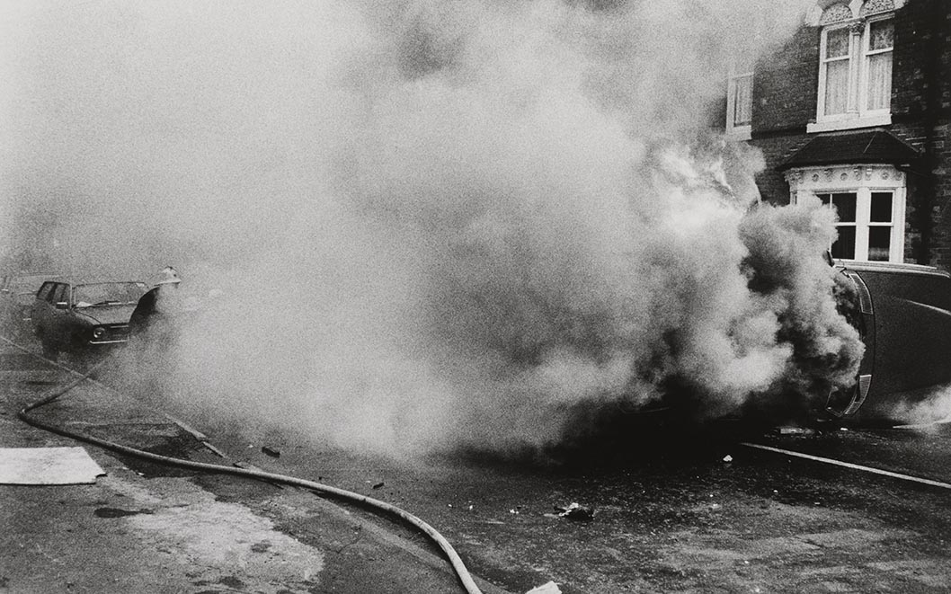 Handsworth Riots, photograph by Pogus Caesar, 1985, England. Museum no. E.1200-2012. © Pogus Caesar Victoria and Albert Museum, London. Supported by the National Lottery through the Heritage Lottery Fund.