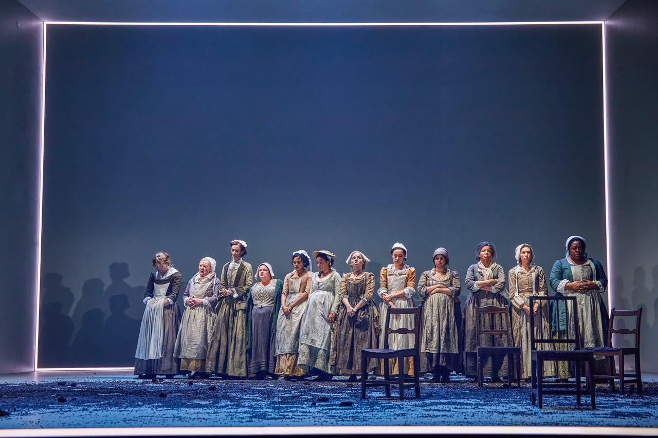 The cast of The Welkin at the National Theatre until 23rd May. Photo by Brinkhoff Moegenburg