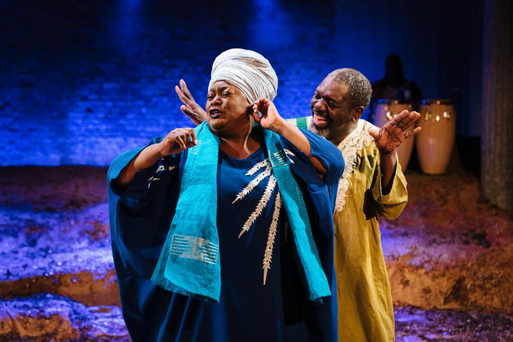 Jumoké Fashola (Mosun) and David Webber(Segun) in 'The High Table' at the Bush Theatre. Photo credit Helen Murray