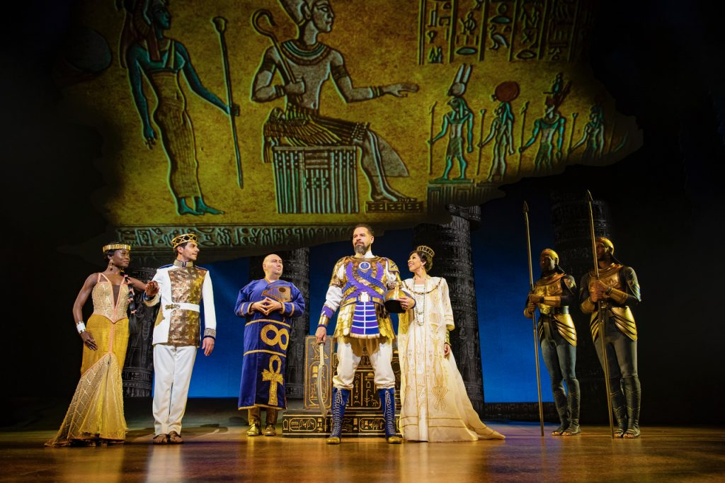 LtoR Tanisha Spring, Liam Tamne, Adam Pearce, Joe Dixon & Debbie Kurup in The Prince of Egypt, credit Matt Crockett © DWA LLC