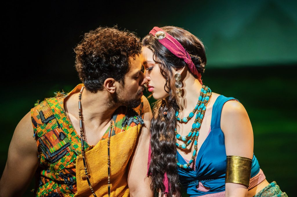 Luke Brady as Moses and Christine Allado as Tzipporah in The Prince Of Egypt, credit Tristram Kenton © DWA LLC
