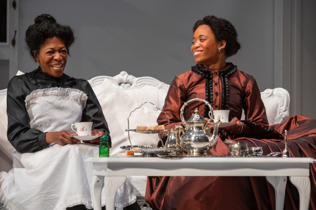 Shannon Hayes & Donna Berlin in the The Gift, Eclipse Theatre- Belgrade Coventry. Photo: Ellie Kurttz