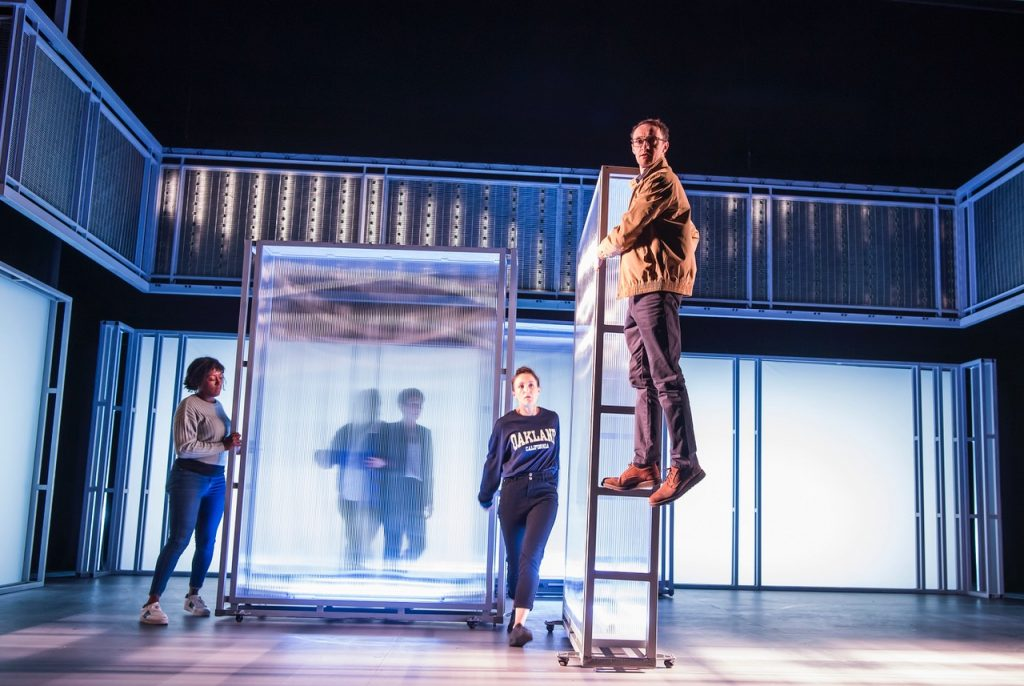 Simone Saunders Charlotte Bate and Andrew Turner. I  Think We Are Alone by Sally Abbott, Frantic Assembly. Photo Copyright: Tristram Kenton