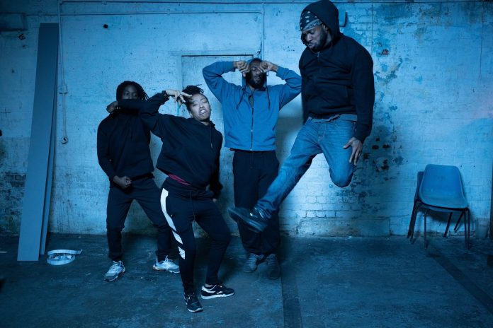 Here Not Here. L-R Duane J Collins, Kush Taylor, Tyrone Isaac Stuart, Theophillus 'Godson' Oloyade. Credit Carlton Dixon