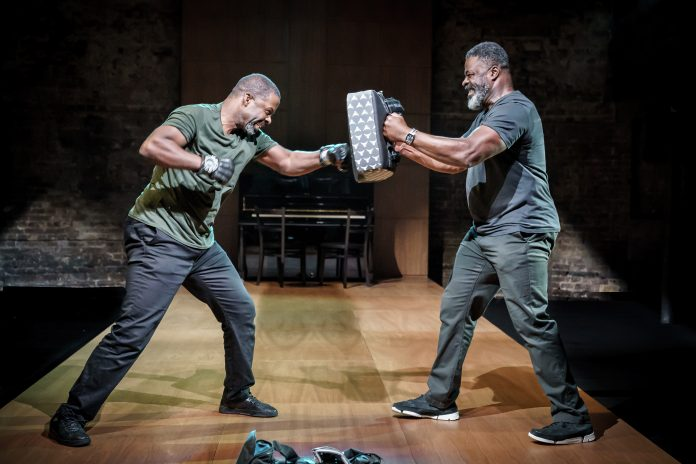 Hymn at the Almeida. Adrian Lester and Danny Sapani. Photo credit - Marc Brenner