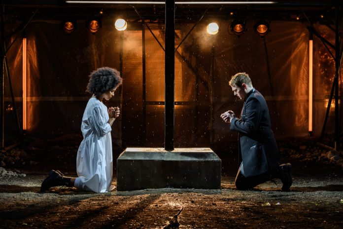 Isabel Adomakoh Young and Joel MacCormack as Romeo and Juliet at Regent's Park Open Air Theatre. Photo Jane Hobson