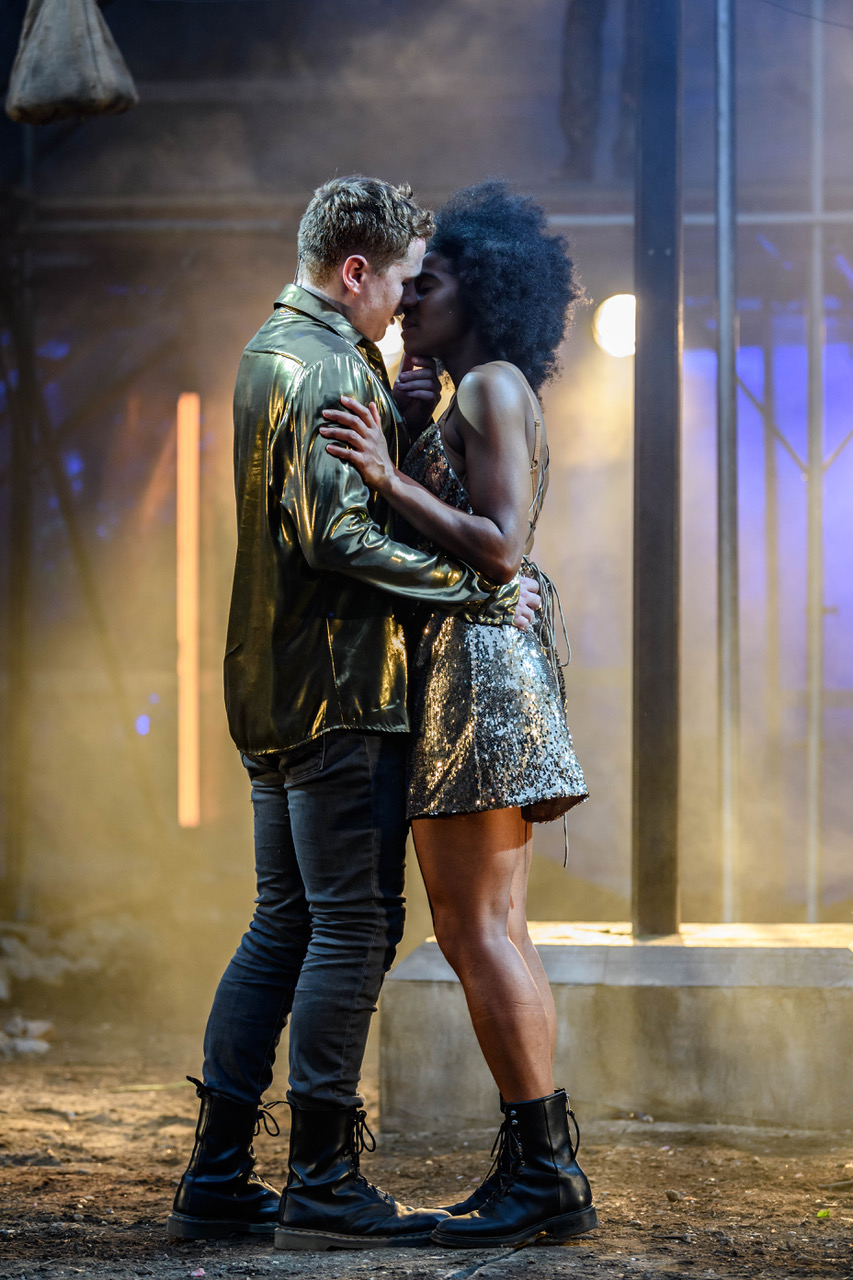 Joel MacCormack and Isabel Adomakoh Young as Romeo and Juliet (2) at Regent's Park Open Air Theatre. Photo Jane Hobson