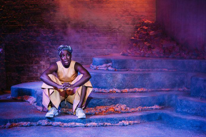 Ronkẹ Adékoluẹjo in 'Lava' at the Bush Theatre. Photo credit Helen Murray