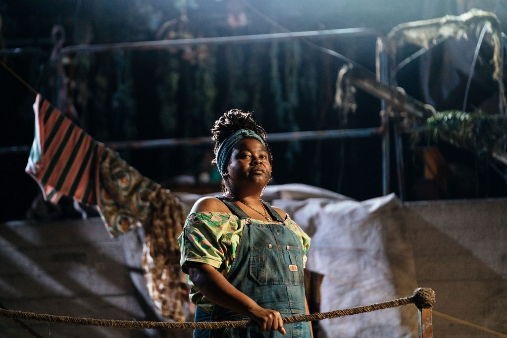 Kayla Meikle (Tayir) in Paradise at the National Theatre. Photo by Helen Murray