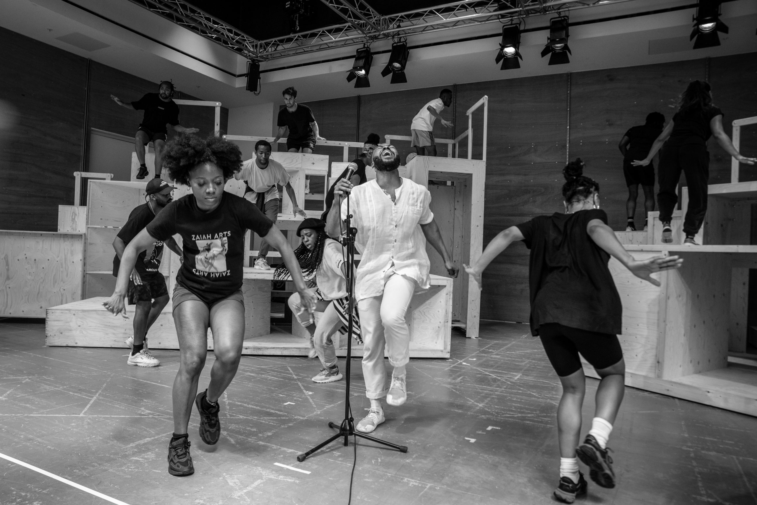 Gabrielle Brooks, Sophia Mackay, Arinzé Kene, Melissa Brown Taylor in rehearsal for Get Up Stand Up! The Bob Marley Musical Credit Craig Sugden