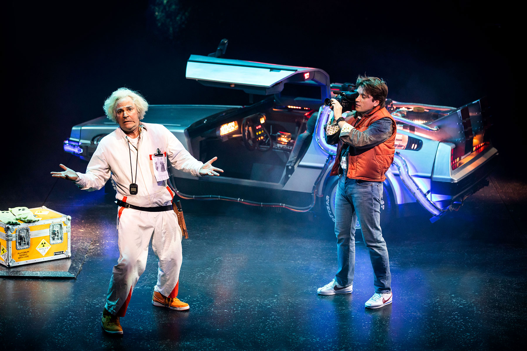 Roger Bart as Doc Brown & Olly Dobson as Marty McFly in Back to the Future the Musical, credit Sean Ebsworth Barnes