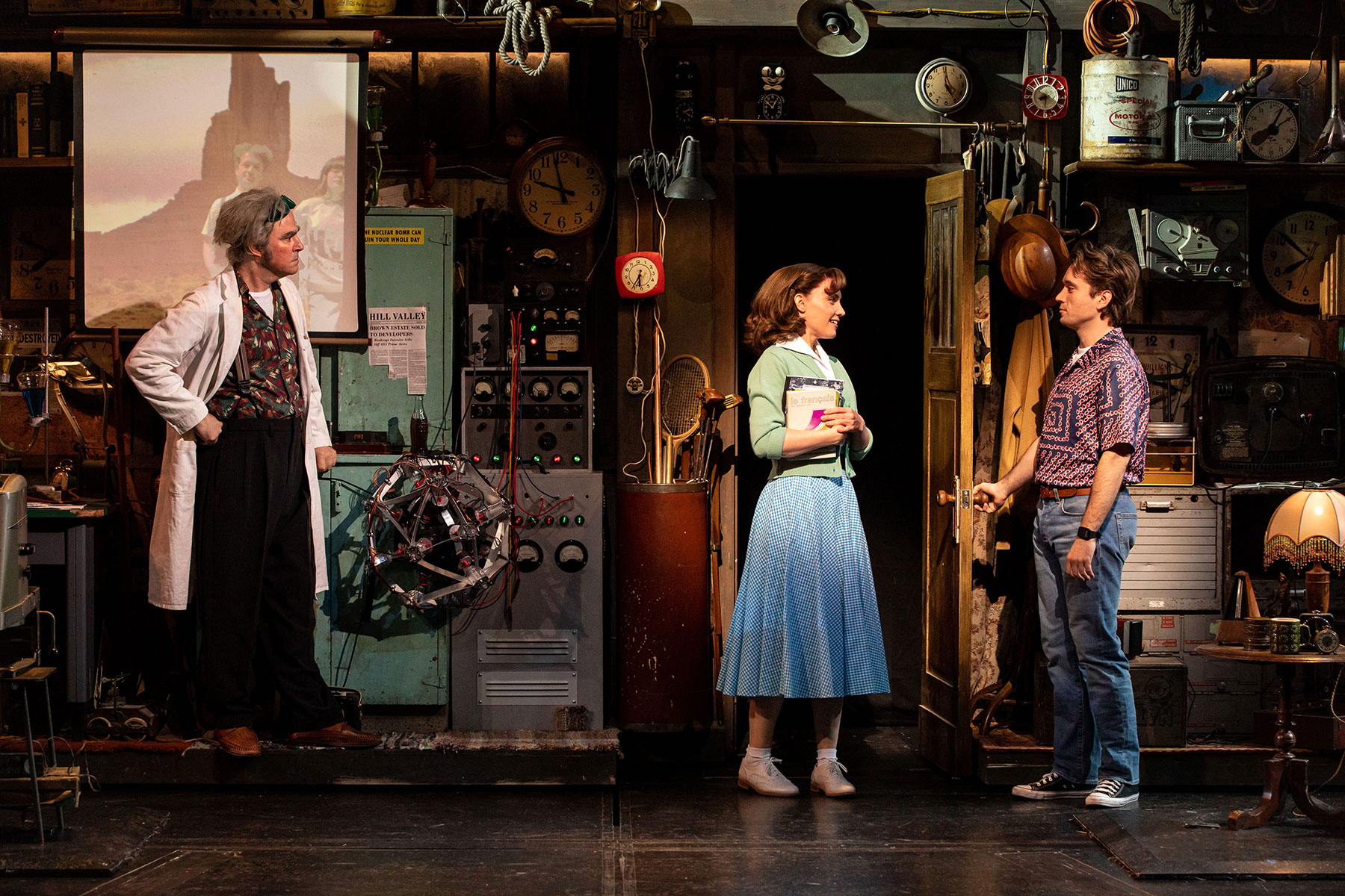 Roger Bart as Doc Brown, Rosanna Hyland as Lorraine Baines & Olly Dobson as Marty McFly in Back to the Future the Musical, credit Sean Ebsworth Barnes